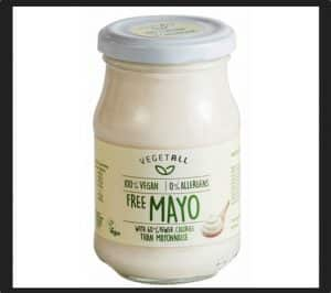vegetall Free Mayo 60% fewer calories than mayonnaise in a jar. Ingredients: Water, sunflower oil (30%), modified corn starch, vinegar, salt, sugar, vegetable protein, thickening agent: xanthan gum, preservative: potassium sorbate, natural colouring: paprika extract.